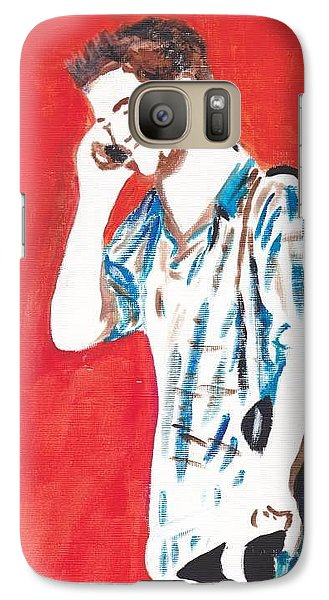 Galaxy Case featuring the painting Red Tyler by Audrey Pollitt