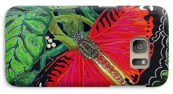 Galaxy Case featuring the painting Red Butterfly by Debbie Chamberlin