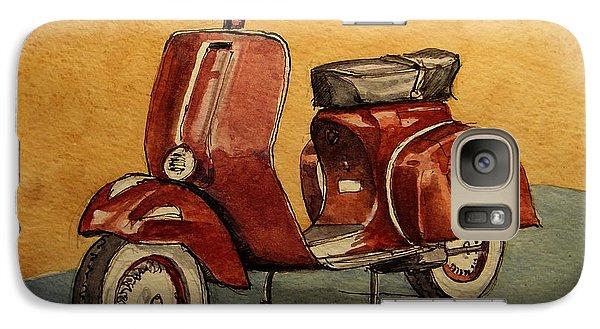 Motorcycle Galaxy S7 Case - Red Vespa by Juan  Bosco