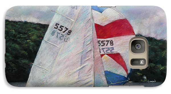 Galaxy Case featuring the drawing Red White And Blue Sailboat by Viola El