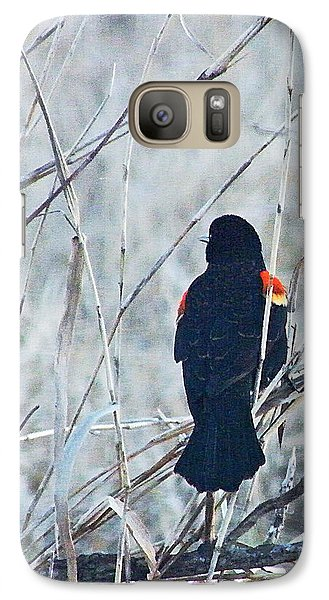 Galaxy Case featuring the digital art Red Wing Perched by Lizi Beard-Ward