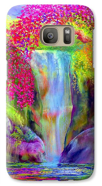Waterfall And White Peacock, Redbud Falls Galaxy S7 Case
