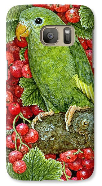 Redcurrant Parakeet Galaxy S7 Case by Ditz