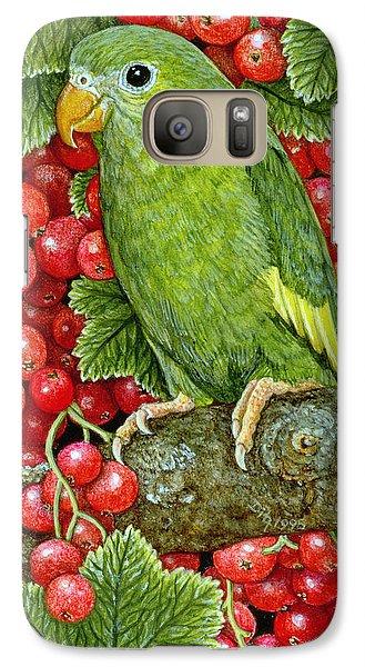 Parakeet Galaxy S7 Case - Redcurrant Parakeet by Ditz
