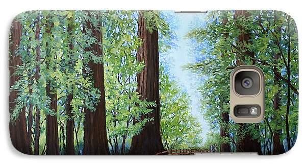 Galaxy Case featuring the painting Redwood Forest Path by Penny Birch-Williams