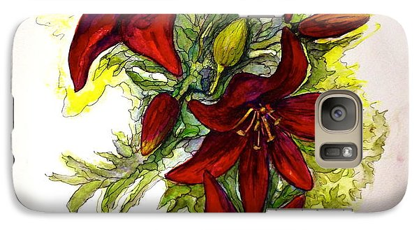 Galaxy Case featuring the painting Red Lilies by Rae Chichilnitsky