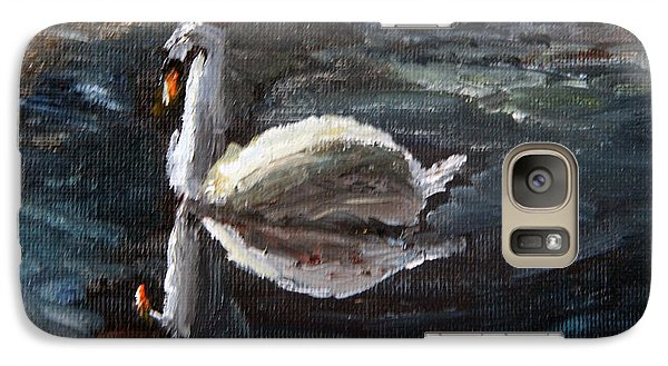 Galaxy Case featuring the painting Reflecting Swan by Michael Helfen