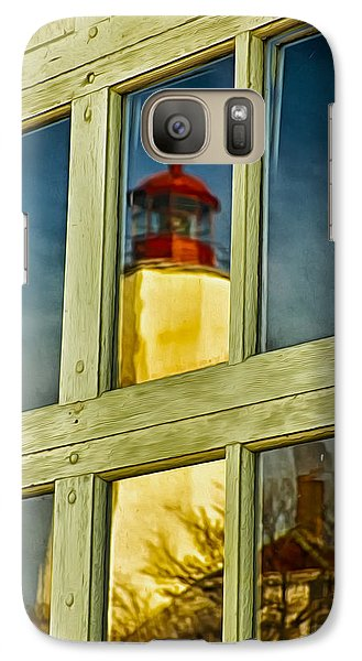Galaxy Case featuring the photograph Reflection Of Sandy Hook Lighthouse by Gary Slawsky