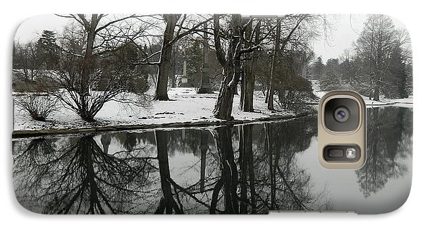 Galaxy Case featuring the photograph Reflection Pond Spring Grove Cemetery by Kathy Barney