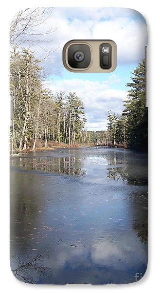 Galaxy Case featuring the photograph Reflections Caught On Ice At A Pretty Lake In New Hampshire by Eunice Miller
