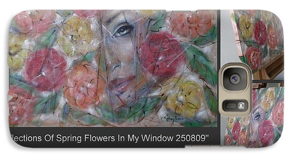 Galaxy Case featuring the painting Reflections Of Spring Flowers In My Window 250809 by Selena Boron