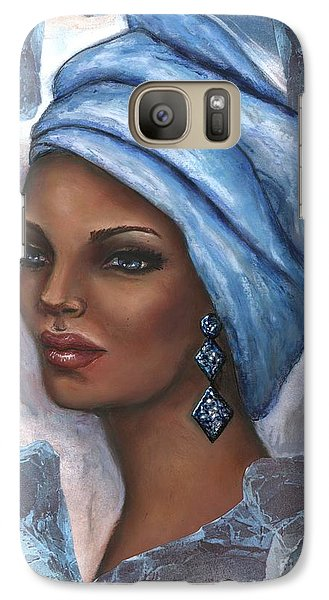 Galaxy Case featuring the mixed media Regal Lady In Blue by Alga Washington