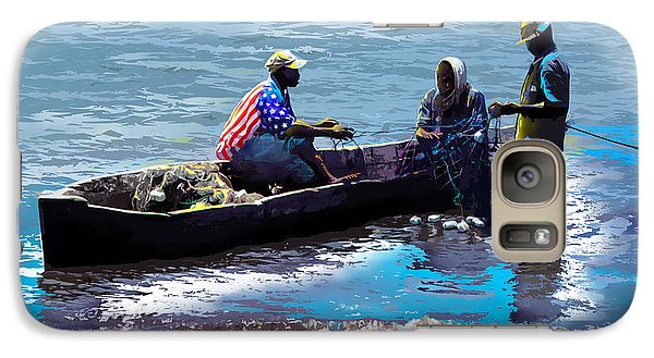 Galaxy Case featuring the painting Repairing The Net At Lake Victoria by Anthony Mwangi