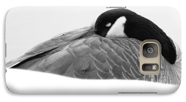 Galaxy Case featuring the photograph Resting Goose In Bw by Anita Oakley