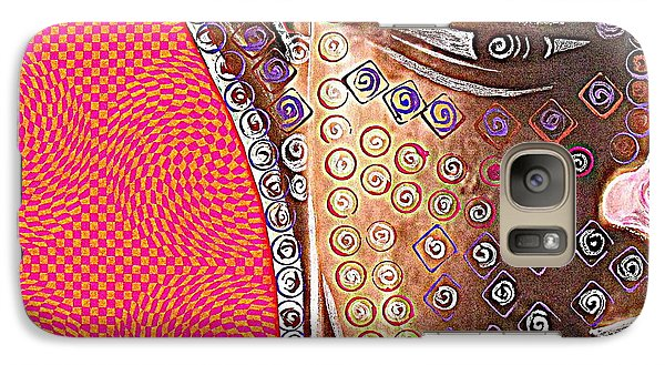 Galaxy Case featuring the mixed media Retro Buddha by Julie  Hoyle
