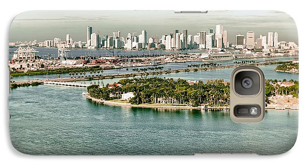 Galaxy Case featuring the photograph Retro Style Miami Skyline And Biscayne Bay by Gary Dean Mercer Clark
