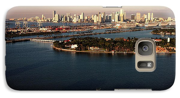 Galaxy Case featuring the photograph Retro Style Miami Skyline Sunrise And Biscayne Bay by Gary Dean Mercer Clark
