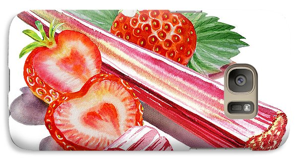 Galaxy Case featuring the painting Rhubarb Strawberry by Irina Sztukowski
