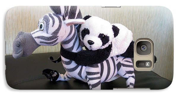 Galaxy Case featuring the photograph Riding A Zebra.traveling Pandas Series by Ausra Huntington nee Paulauskaite