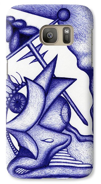 Galaxy Case featuring the drawing Ripple by Carl Hunter