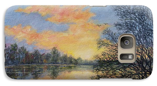 Galaxy Case featuring the painting River Dusk # 2 by Kathleen McDermott