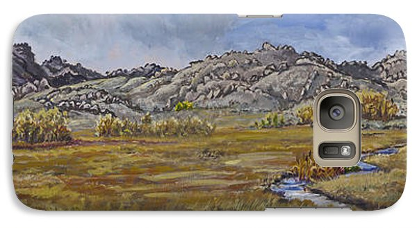Galaxy Case featuring the painting River Mural Autumn View  by Dawn Senior-Trask