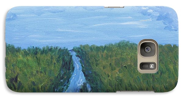 Galaxy Case featuring the painting River Running Through The Grassland by Martin Blakeley