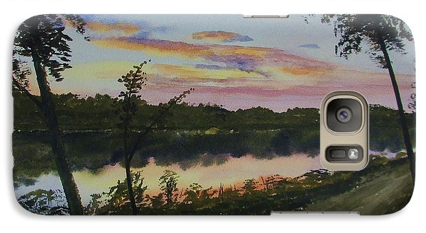 Galaxy Case featuring the painting River Sunset by Martin Howard