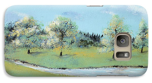 Galaxy Case featuring the painting River Windrush by Elizabeth Lock