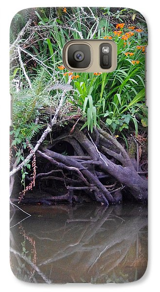 Galaxy Case featuring the photograph Riverbank Has Eyes by Adria Trail