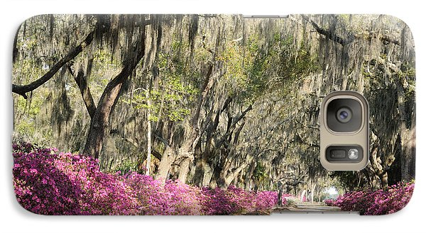 Galaxy Case featuring the photograph Road With Azaleas And Live Oaks by Bradford Martin