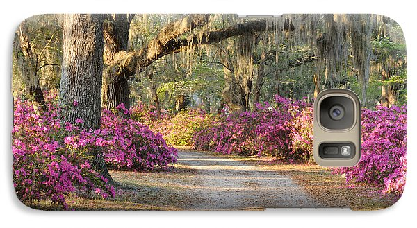 Galaxy Case featuring the photograph Road With Live Oaks And Azaleas by Bradford Martin