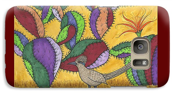 Galaxy Case featuring the painting Roadrunner And Prickly Pear Cactus by Susie Weber