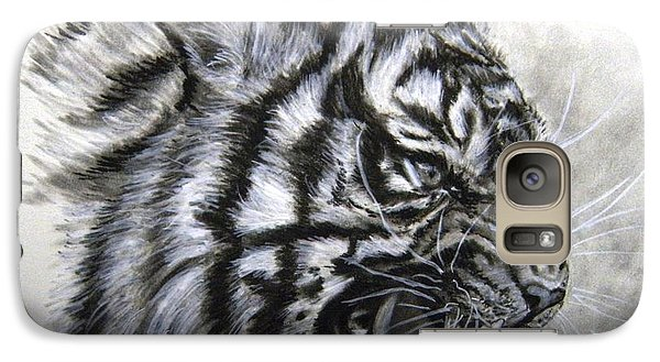 Galaxy Case featuring the drawing Roaring Tiger by Lori Ippolito