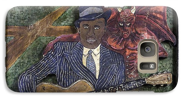 Galaxy Case featuring the painting Robert Johnson At The Crossroads by Eric Cunningham