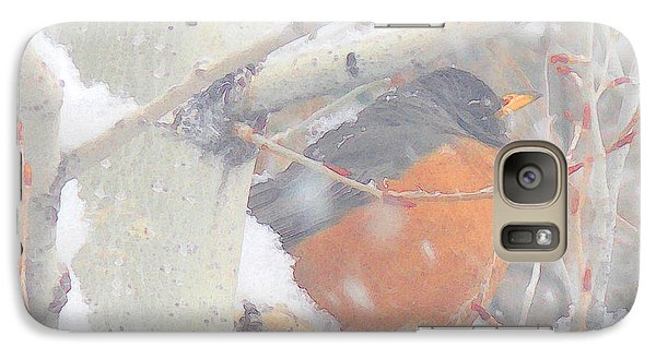 Galaxy Case featuring the photograph Robin In April Snow by Anastasia Savage Ealy