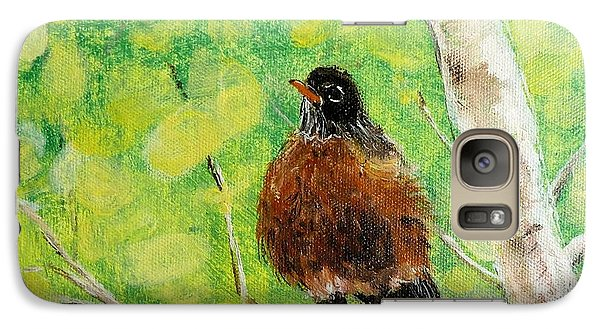 Galaxy Case featuring the painting Robin On Aspen by Susan Fisher
