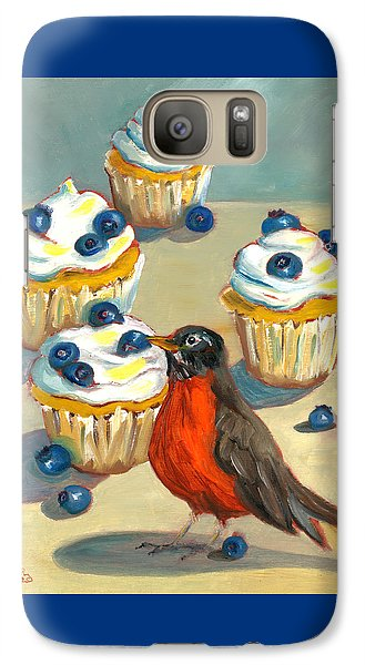 Galaxy Case featuring the painting Robin With Blueberry Cupcakes by Susan Thomas