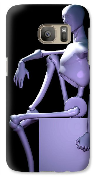 Galaxy Case featuring the digital art Robot In Thought... by Tim Fillingim