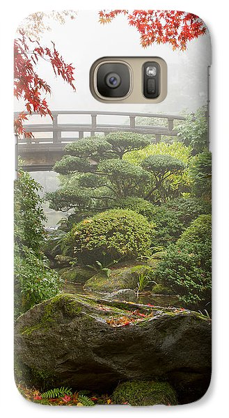 Galaxy Case featuring the photograph Rock And Bridge At Japanese Garden by JPLDesigns