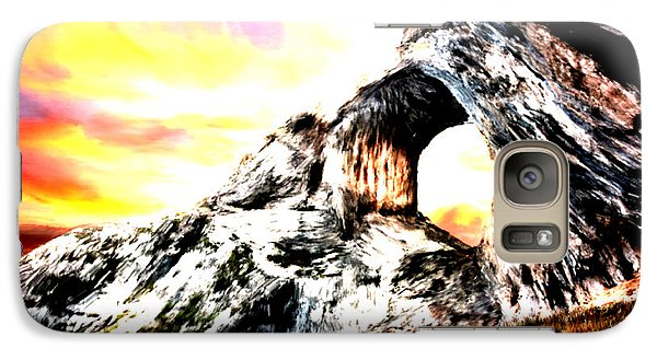 Galaxy Case featuring the painting Rock Cliff Sunset by Bruce Nutting