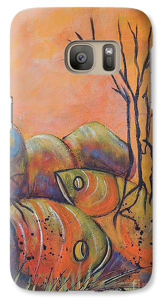 Galaxy Case featuring the painting Rock Fishing by Lyn Olsen