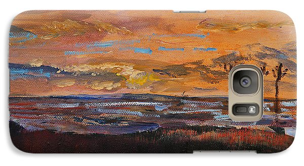 Galaxy Case featuring the painting Rock Harbor Sunset by Michael Helfen