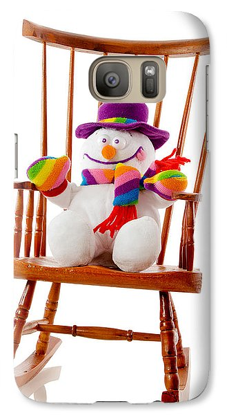 Galaxy Case featuring the photograph Happy Snowman Sitting In A Rocking Chair  by Vizual Studio
