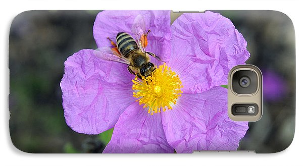 Galaxy Case featuring the photograph Rockrose Flower With Bee by George Atsametakis