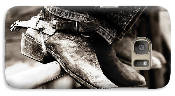 Galaxy Case featuring the photograph Rodeo Boots And Spurs In Black And White by Lincoln Rogers