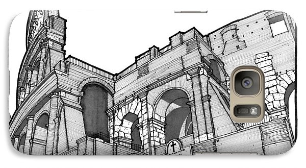 Galaxy Case featuring the drawing Roman Colosseum by Calvin Durham