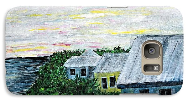Galaxy Case featuring the painting Rooftops At Sunset by Debbie Baker