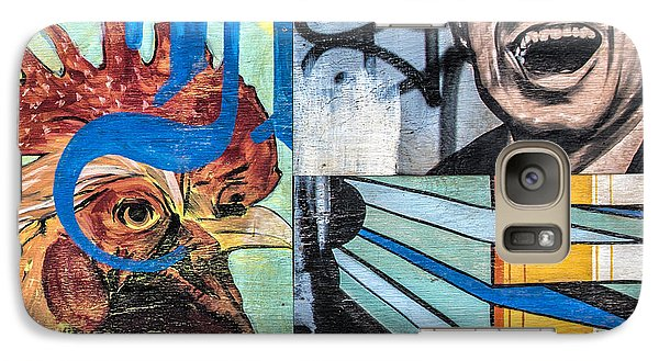 Galaxy Case featuring the mixed media Rooster And Man Graffiti by Terry Rowe