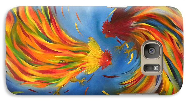 Galaxy Case featuring the painting Rooster Fight by Fanny Diaz